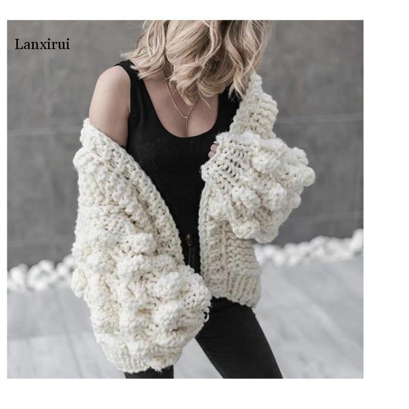 Lanxirui Style coréen femmes tricoté à la main boule lanterne manches Cardigan automne hiver solide épais tricot chandails chaud châle