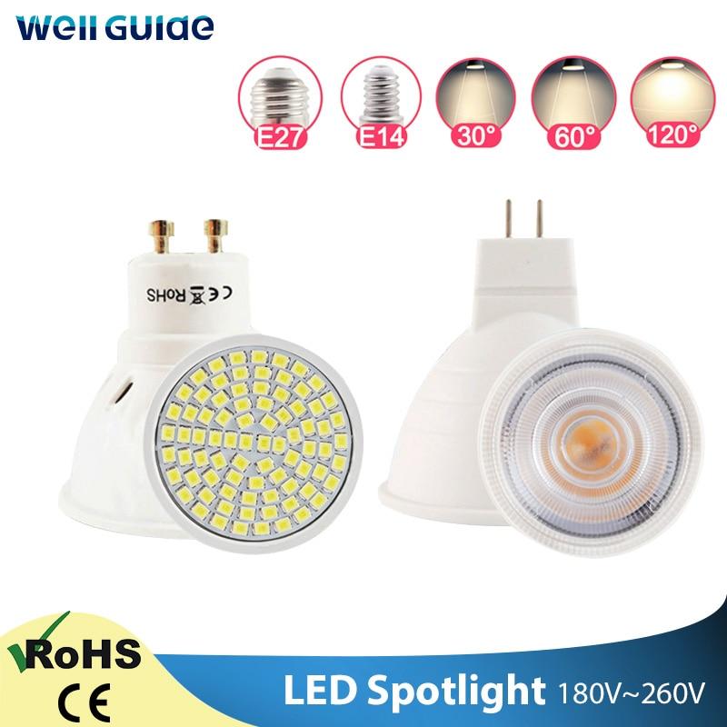 Светодиодный прожектор GU10 MR16 E27 E14 с регулируемой яркостью, 6 Вт, 3 Вт, 8 Вт, 220 В, AC12V, светодиодный прожектор, холодный и теплый белый свет