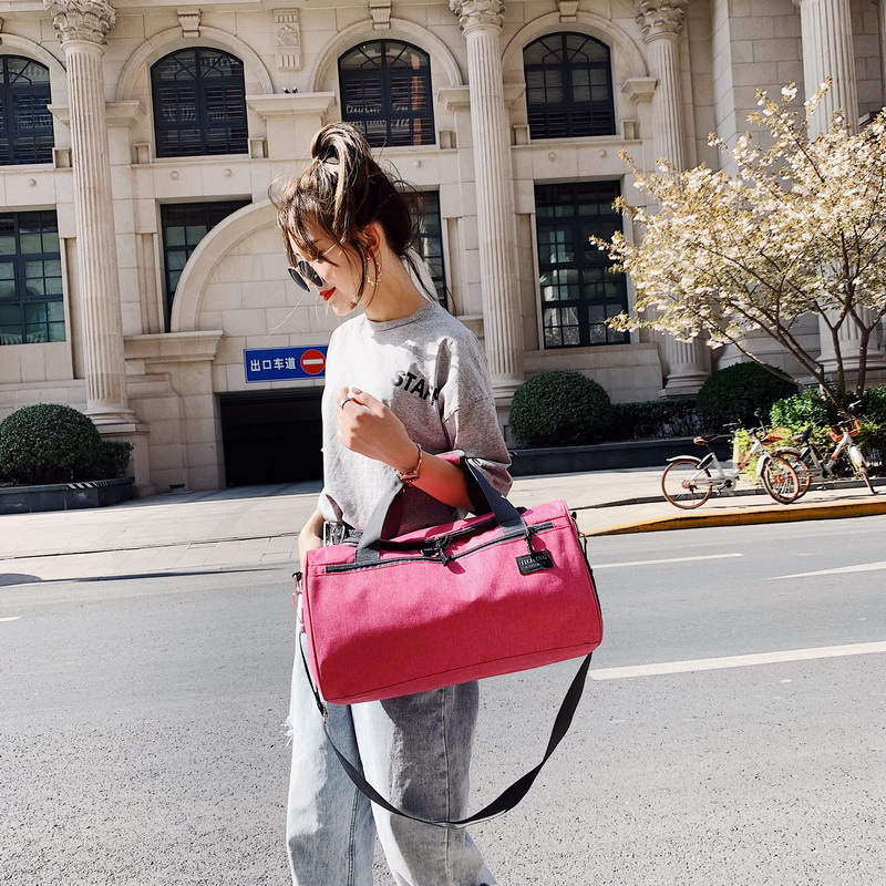 New Style Canvas Casual Luggage Simple Pure Color Large Capacity Storage Bag Hand B/l Shoulder Travel Bag