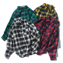 Men Shirt Loose 2019 New Spring And Autumn Retro Plaid Lovers Male Student Fashion Japanese Style Plus Size 4XL 5XL S08