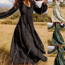 S-3XL New Women's High Quality V-Neck Boho Temperament Retro Holiday Leisure Long Sleeved Beach Women Dress