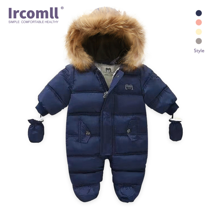 Ircomll New Born Baby Winter Clothes Toddle Jumpsuit Hooded Inside Fleece Girl Boy Clothes Autumn Overalls Children Outerwear