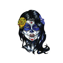 Car Sticker Woman Sugar Face Skull Automobiles Motorcycles Exterior Accessories PVC Decals for Bmw Audi Ford Toyota,14cm*13cm недорого