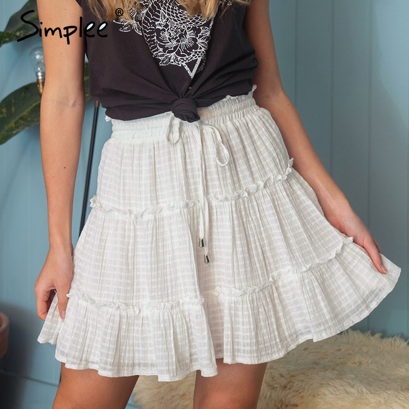 Simplee Ruffled High Waist Women Skirts Elegant Lace Up A-line Female Mini Skirt Casual Streetwear Ladies Summer Cotton Skirts