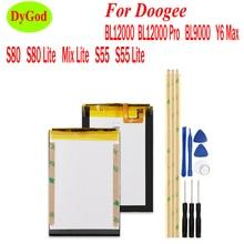 Doogee BL12000 BL12000 Pro BL9000 Y6 용 배터리 Doogee S80 S80 Lite S55 S55 Lite Mix Lite 용 최대 전화 교체 용 배터리