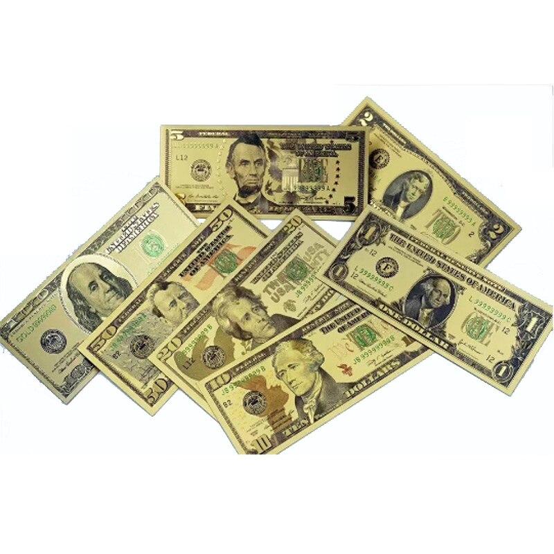 7 unids/lote de billetes falsos de EE. UU., billetes falsos de EE. UU., colección de papel para dinero, regalo de decoración del hogar