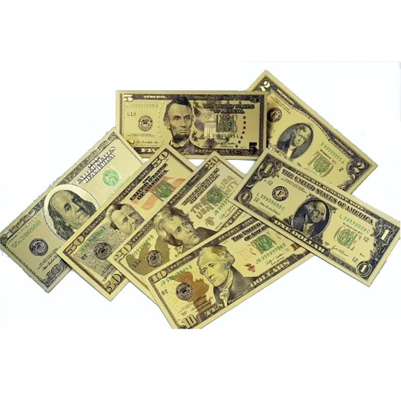 7 teile/los UNS Goldfolie Banknote Amerika Gefälschte Banknoten Alle Dollar Banknoten Papier Geld Sammlung für Home Dekoration Geschenk