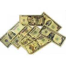 7 unids/lote nos hoja de oro billete América billetes falsos todos billetes de dólar dinero de papel colección para decoración del hogar regalo