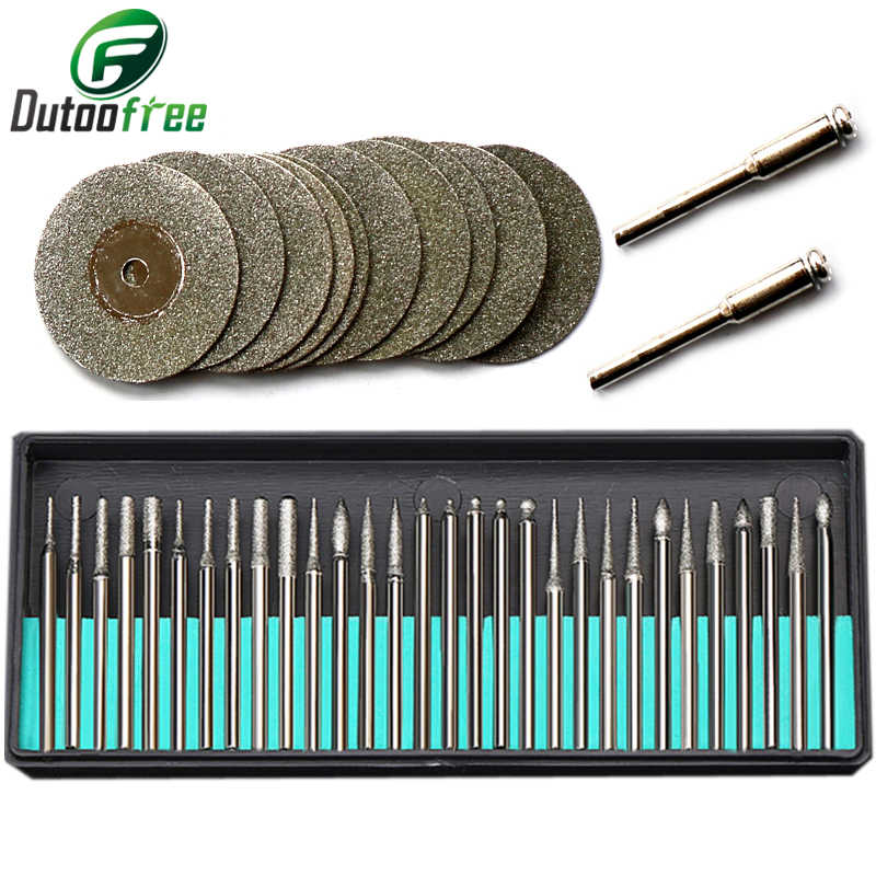 30pcs Diamond Coated Burrs Glass Drill Bit for CNC Miliing Cutting Silver