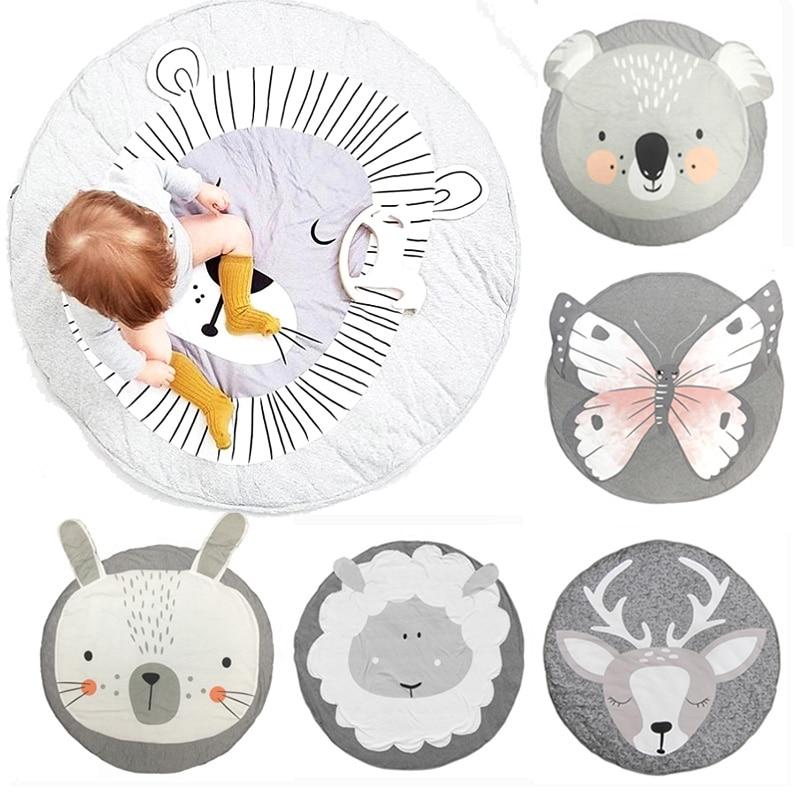 Play Mat Round Lion Rabbit Unicorn Koala Playmats Game Pad Infant Crawling Blanket Kids Room Carpet Rugs Baby Activity Gym Mat