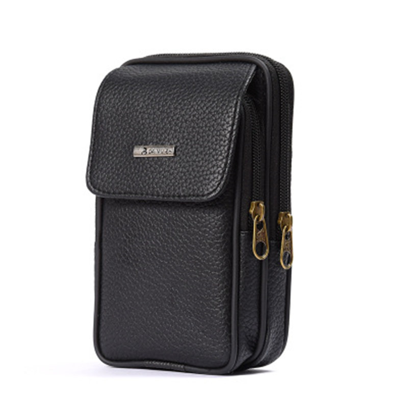 BISI GORO 2019 Fashion On The Belt Multi-function Phone Coin Card Men Travel Bag Cow Leather Outdoor Waist Bag Wear-resistant