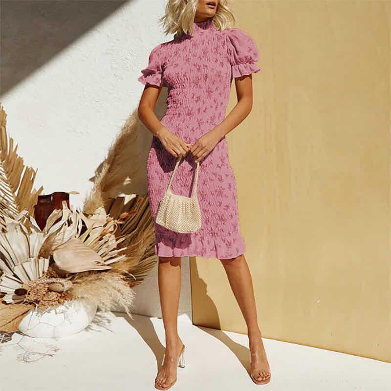 Kadınlar Boho çiçek baskı kat elbise Bodycon pilili puf kollu ince kadın Midi elbiseler yaz bayan plaj elbise Vestidos