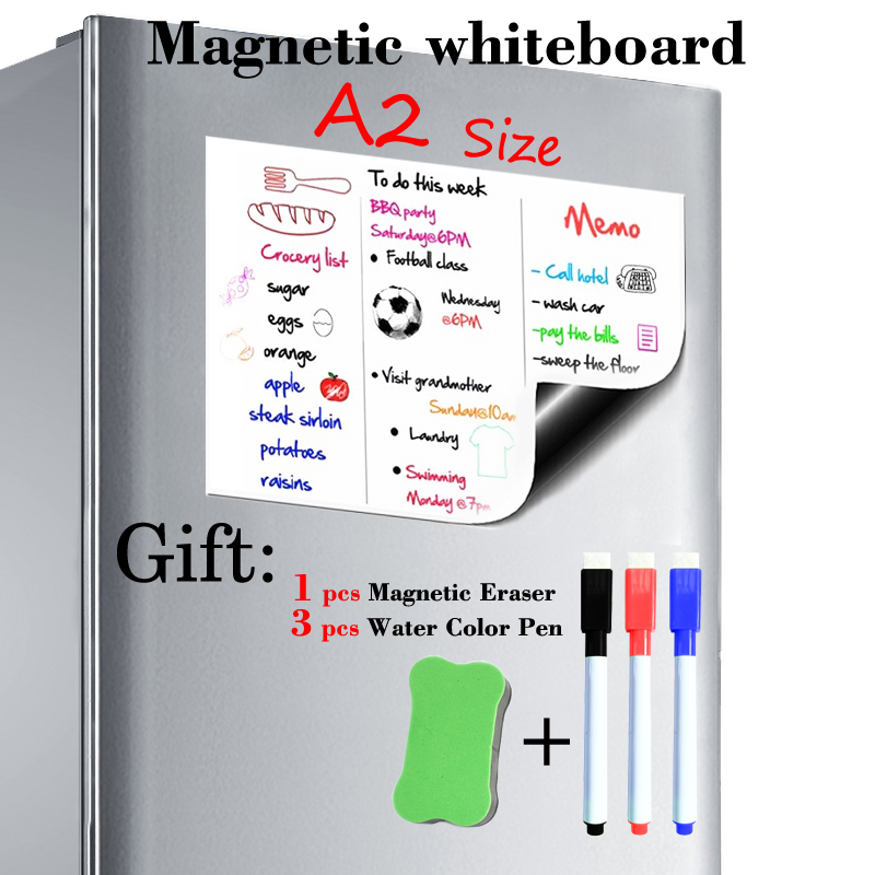 A2 Size 420x594mm Magnetic Whiteboard Fridge Magnets Presentation Boards Home Kitchen Message Boards Writing Sticker 3pen1Eraser
