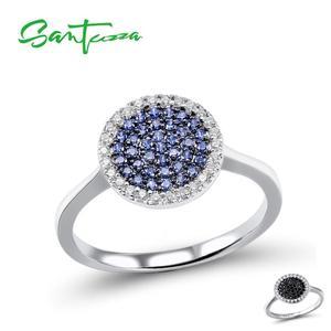 Image 3 - SANTUZZA Silver Jewelry Set For Women Blue Black CZ Round Circle Ring Earrings Pendant Set 925 Sterling Silver Fashion Jewelry