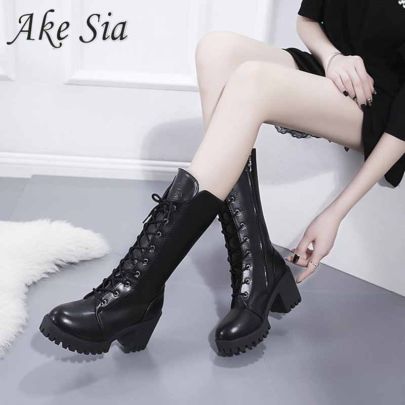 2019 autumn winter new snow boots female  retro British wind dark black fan car rider boots thick with thick bottom tube MUJER