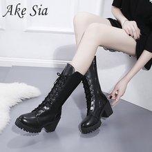 2019 autumn winter new snow boots female retro British wind dark black fan car r