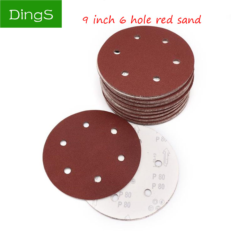 10pcs 9 Inch 6 Hole Sanding Paper Discs Self Adhesive 40-2000 Grit Sandpaper Round Disk Sand Sheet Metal Furniture Grinding Tool