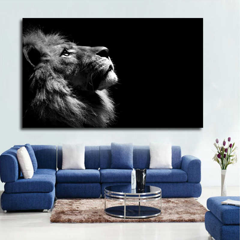 Large Size Black and White Lion Animal Canvas Print Poster Wall Pictures For Living Room Modern Decoration Painting No frame