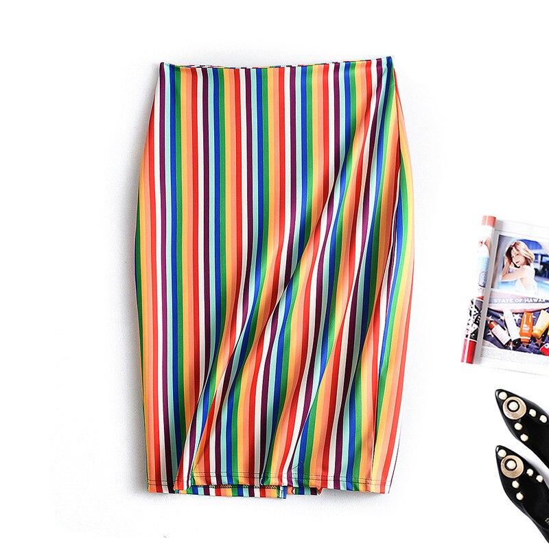 Spring Summer Korean Midi Skirt Women Stripes Pencil Skirt Womens High Waist Back Zipper Green Leopard Print Skirts Femme Faldas