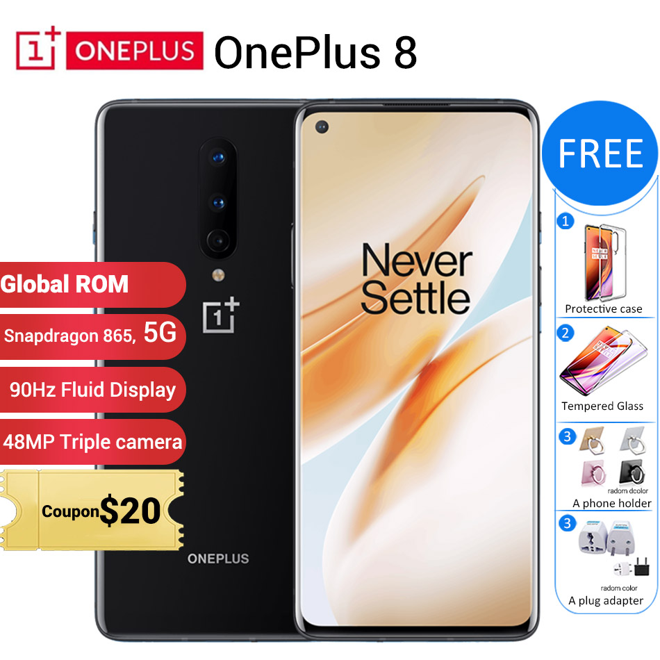 "Global ROM Oneplus 8 5G Mobile Phone 12GB 256GB /8GB 128GB 6.55"" 90Hz Snapdragon 865 48MP 30W 4300mAh NFC 5G Smartphone"