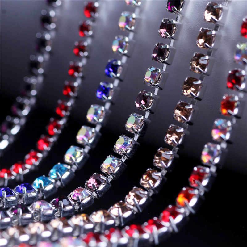 DIY Kaca Berlian Buatan Rantai Hiasan Berlian Imitasi Hotfix Perhiasan Kristal Berlian Imitasi untuk Pakaian Menjahit Aksesoris Self-Adhesive Rhinestone