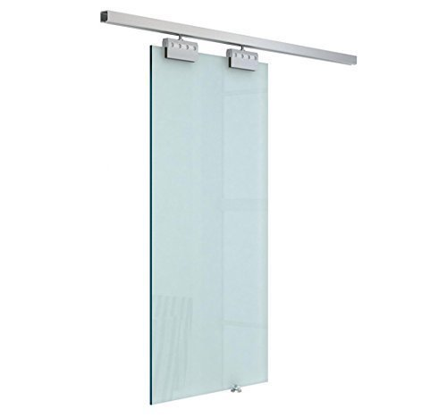 HOMCOM Sliding Door Interior Frosted Glass With Track And Handle For Bathroom Kitchen Study 205x77.5x0.8 CM