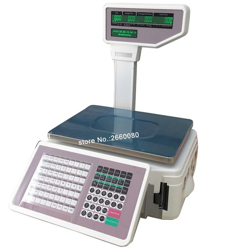 Escala de impressão da etiqueta e escala da caixa registadora com etiqueta térmica & impressora do recibo TM-A 2017 escala comercial do equilíbrio do retalho da posição