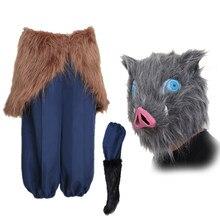 Hashibira inosuke demônio slayer kimetsu não yaiba cosplay traje dia das bruxas calças masculinas lã saia cabeça de porco máscara