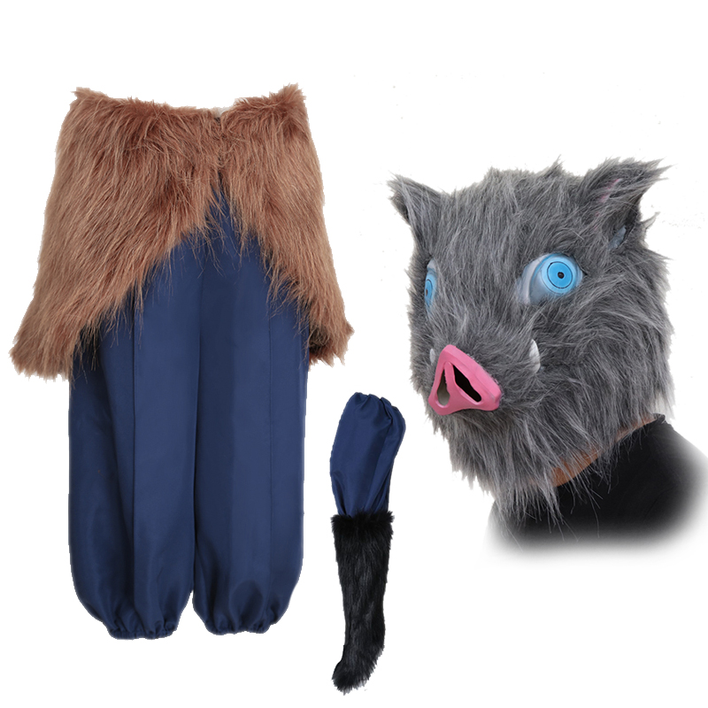 Hashibira Inosuke Demon Slayer Kimetsu No Yaiba Cosplay Costume Halloween Costumes For Women Men Pants Wool Skirt Pig Head Mask