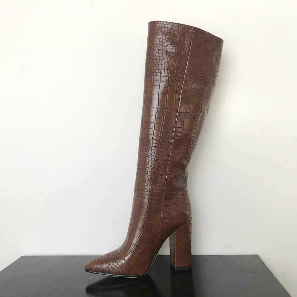 2020 moda diz yüksek çizmeler kadın kış çizmeler kalın yüksek topuklu uzun çizmeler yuvarlak kayma bahar sonbahar ayakkabı kadın siyah