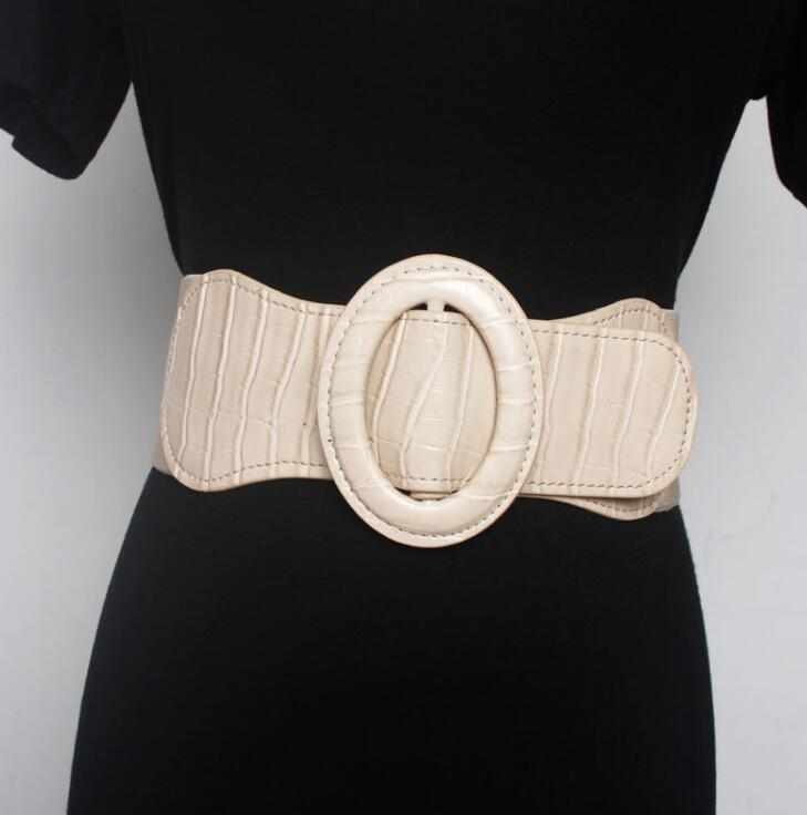 Women's Runway Fashion Pu Leather Elastic Cummerbunds Female Dress Coat Corsets Waistband Belts Decoration Wide Belt R2188