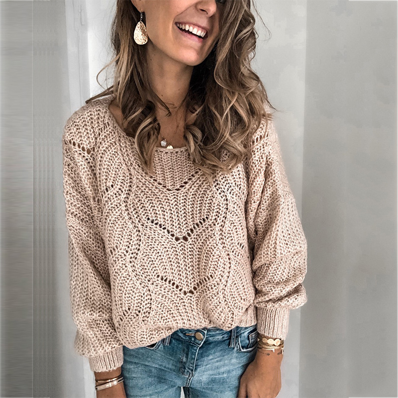 Sweater Ladies Crew Neck Cutout Knitted Jumper Pullover Women Womens Sweater Women Sweaters And Pullovers Streetwear O-neck