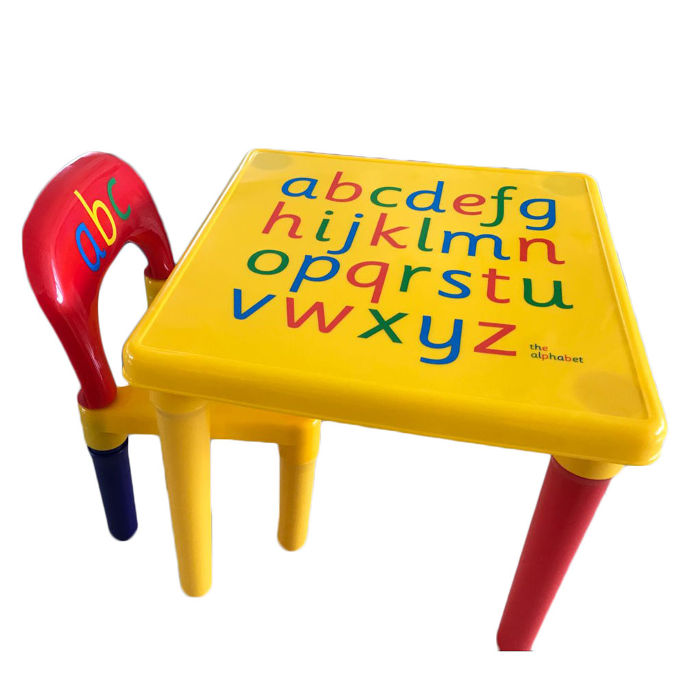 Plastic Table And Chair Set For Kid / Children Furniture Sets Dinner Kids Chair And Study Table Sets Cartoon Writing Desk