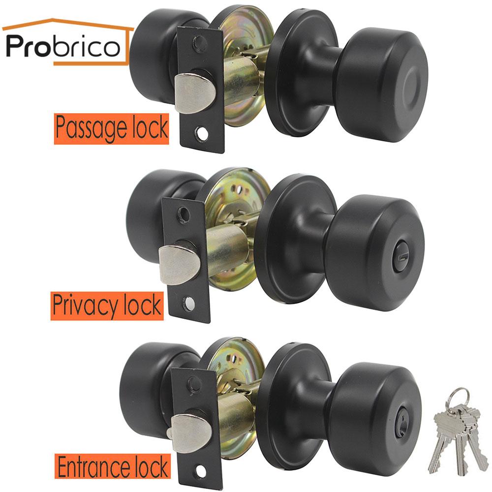 1 Pack Door Lock Round Privacy Door Knob Doorknobs Keyless Interior Door Lockset For Storage Room Bedroom Bathroom Matte Black Finish By Probrico Hardware Door Hardware Locks