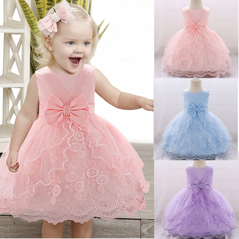 Pink Lace Baptism Baby Girl Dresses Party and Wedding Evening 1st Birthday Kids Dress for Girls Prom Princess Dress 18 24 Month