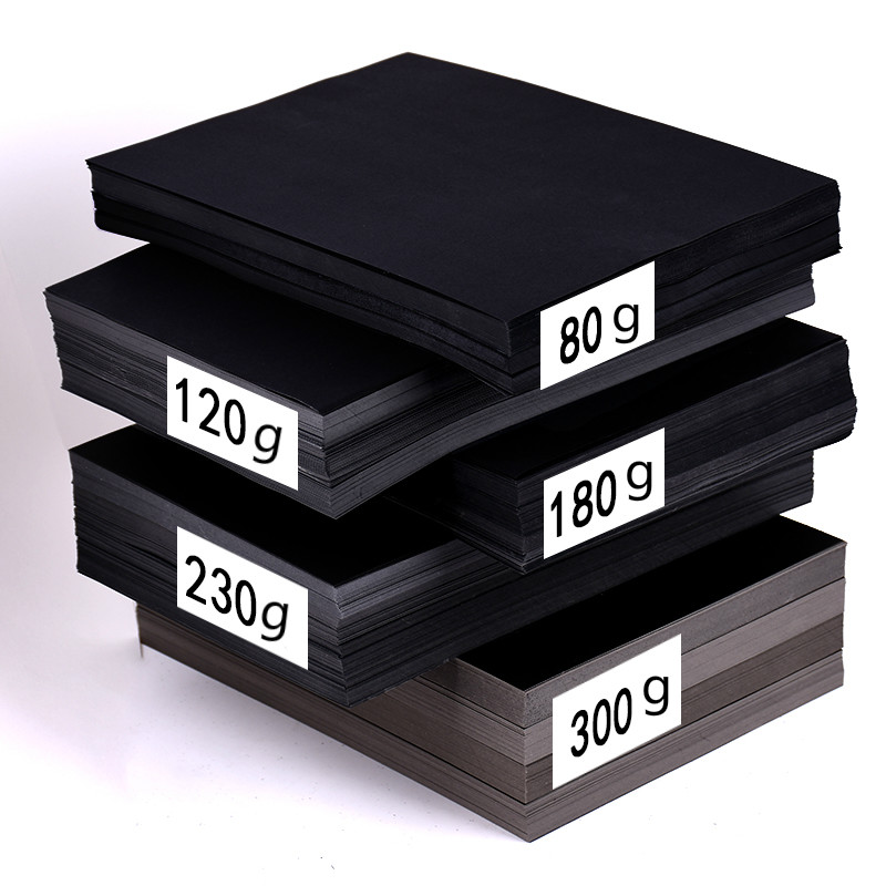 80-300gsm Black Card Paper DIY Handmake Card Making A4/A3/8K/4K Craft Paper Thick Paperboard Cardboard Blank Hand Drawing Paper