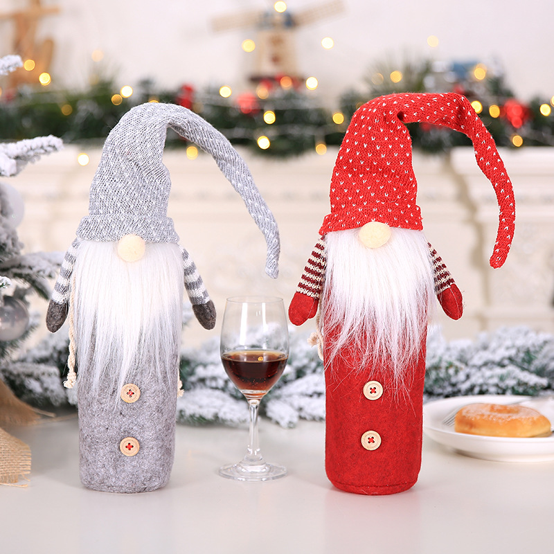 Christmas Wine Bottle Cover Xmas Dress For Water Bottle Santa Claus Woven Bag Covers New Year Gift Packing Home Table Decoration