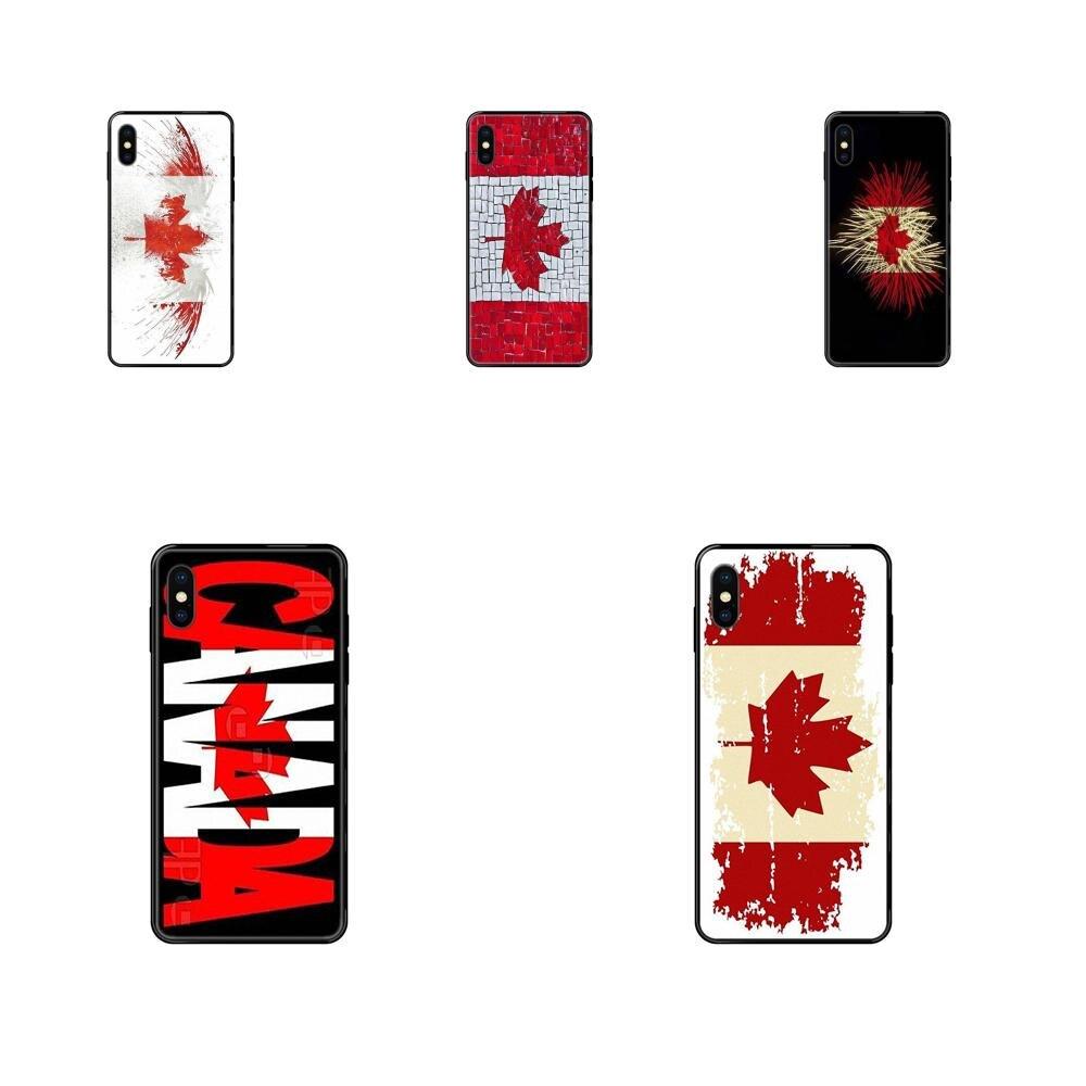 Soft TPU Cellphone Black Canada Flag For Samsung Galaxy A70 A71 A70E A5 A6 A7 A8 A10 A10S A20 A20S A20E A21S A30S A40 A50