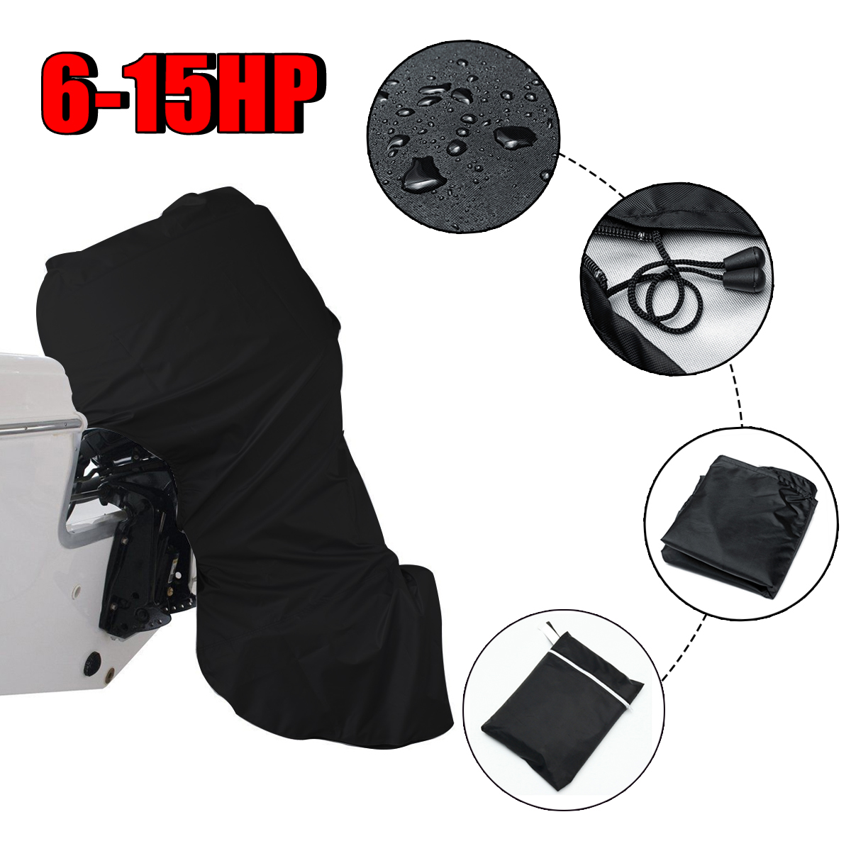 420D 110cm Boat Full Outboard Engine Motor Cover For 6-15HP Boat Motors Waterproof