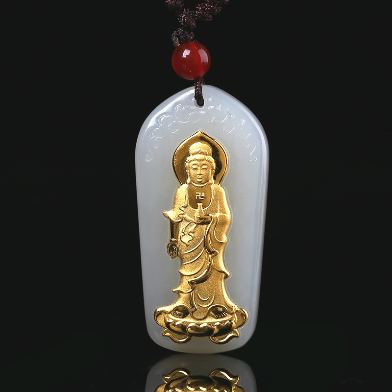 White Buddha head Carved Jade Pendant Necklace Charm Jewelry Amulet Gifts