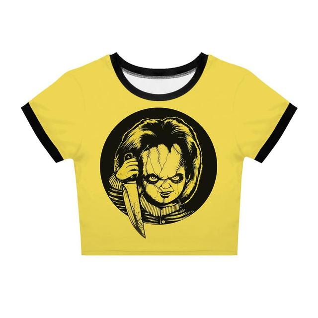 Chucky T-shirt Women Crop Top T shirt Gothic Tee Girl Party Tshirt Clothes Streetwear Clothing Halloween Gift Club Outfit