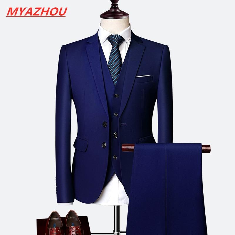 10 Colors Blazer+ Pants + Vest /men's Solid Color Suit 3 Sets Of Fashion Boutique Men's Business Office Casual Suits Sets S-6XL