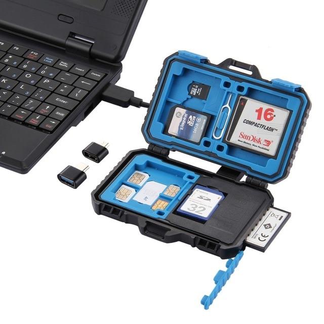 PULUZ Memory Card Case USB 3.0 SD CF TF Reader + OTG Fuction 9/22/27 Slots Waterproof SD CF TF SIM Cards storage Case Holder