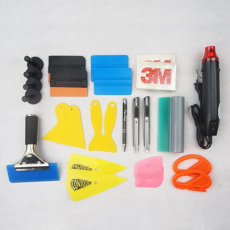 Voiture véhicule vinyle emballage outils ensemble Auto emballage outils magnétique raclette en Fiber de carbone autocollant Film Cutter couteau voiture accessoires