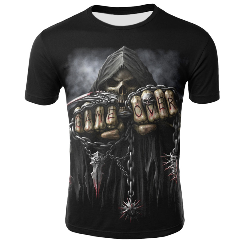 Skull T Shirt Men Summer Fashion Tops Skeleton T-shirt Punk Rock Clothing Gothic 3d Print T-shirt Hip Hop Tops Dropshipping