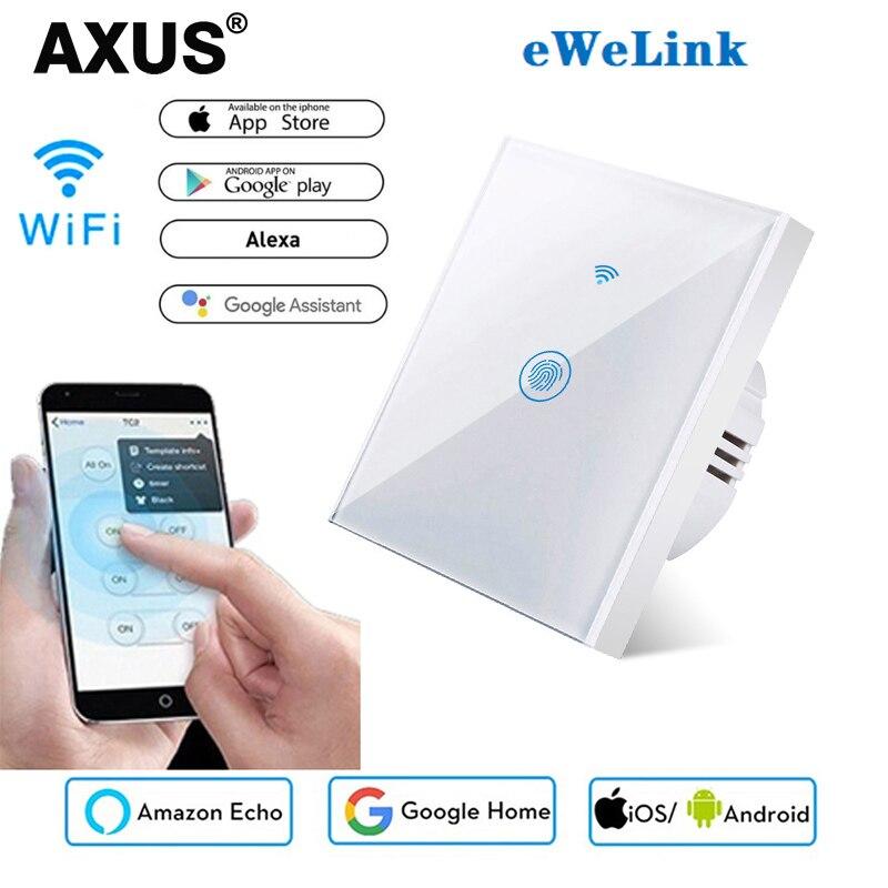 Роскошный настенный сенсорный выключатель AXUS, стандарт ЕС, 1 комплект, 1 канал, Ewelink, умная поддержка Alexa Google Home Assistant IFTTT для Android 220 В