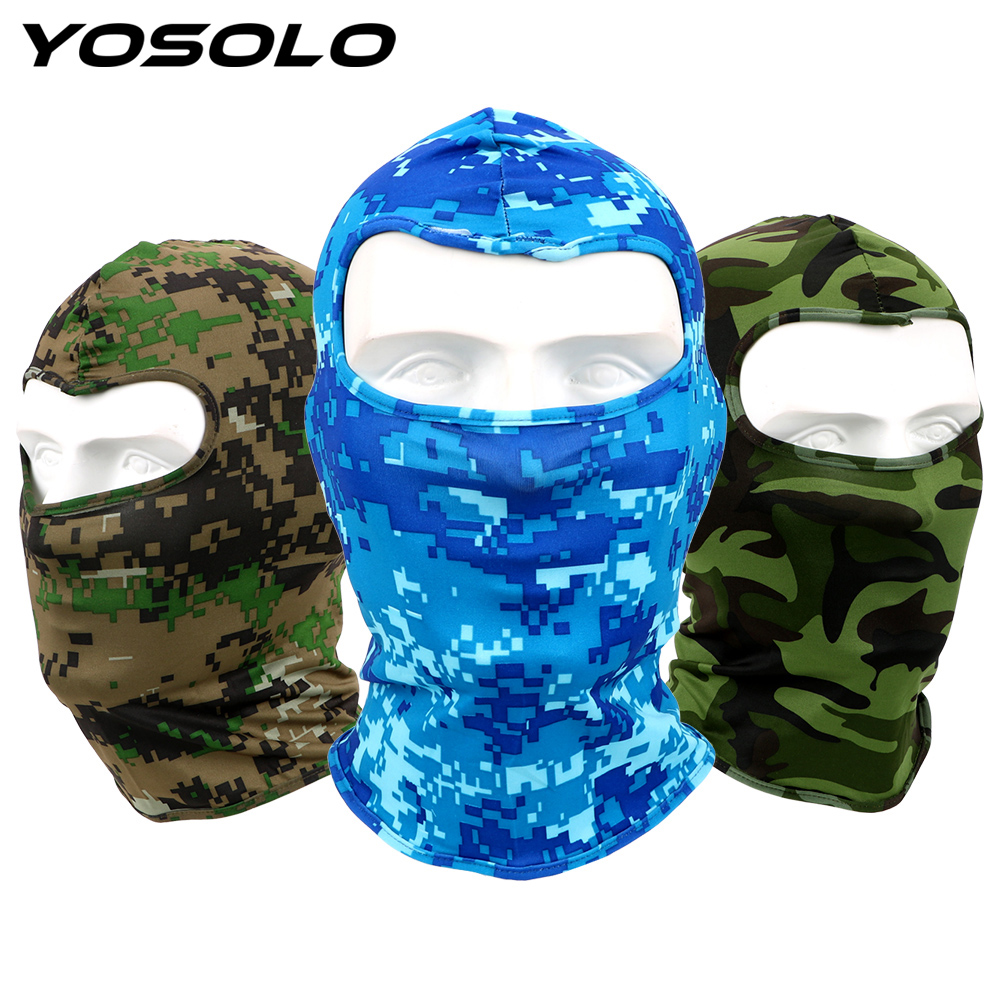 YOSOLO Breathable Lycra Camouflage Motorcycle Face Mask Full Face And Neck Wind Cap Quick Drying For Cycling Ski Sports