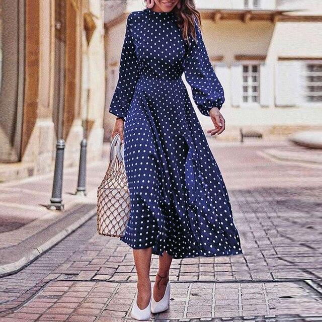 puff Sleeve Polka Dot Printed Long Dress 5