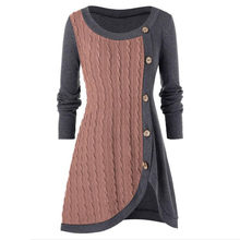 Plus Größe Frauen Oansatz Langarm Solide Botton Pachwork Asymmetrische Tops Pullover Frauen 2019 Winter Tops Strick Pullover(China)