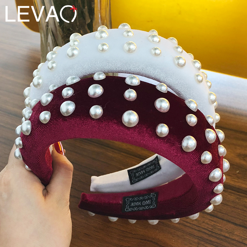 Levao 2019 Sponge Thick Velvet Headbands for Women Hair Accessories Band Autumn Wide Simulation Pearls   Headwear   Padded Hairbands